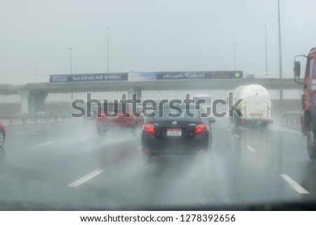 Dubai during rainy day on al khial road and wet street December 2018 #1278392656