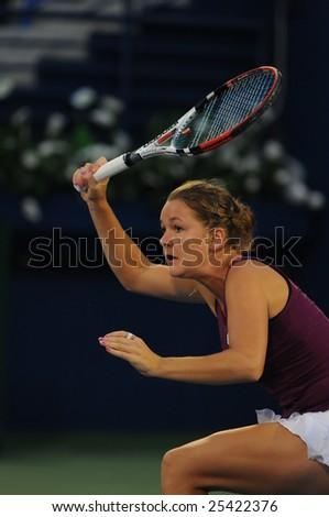 DUBAI - FEBRUARY 21: Agnieska Radwanska (POL), runner up of the Barclays Dubai Tennis Championships, in action at the final game in Dubai on February 21, 2009.