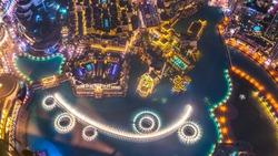Dubai Fountain as seen from Burj Khalifa, Dubai United Arab Emirates