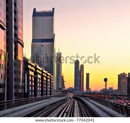 DUBAI - JANUARY 8: General view of Dubai Metro on January 8, 2010 in Dubai, UAE. Dubai metro is the first monorail in the Middle East.