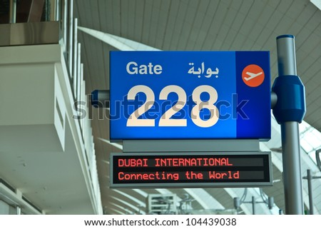 DUBAI - JUNE 02: Notice board at Dubai International airport on June 2, 2012 in Dubai, UAE. The airport is major aviation hub in the Middle East with max throughput of 80 millions  passengers per year