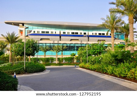 DUBAI-JUNE 20:The Dubai Metro on June 20, 2012.The Dubai Metro is a driverless, fully automated metro rail network in the United Arab Emirates city of Dubai.