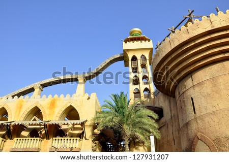 DUBAI-JUNE 20: View of the the Wild Wadi Water Park on June 20, 2012 in Dubai.The Wild Wadi Water Park is a water park in Dubai, United Arab Emirates situated in the area of Jumeirah.