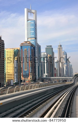 DUBAI - MARCH 17: General view of Dubai Metro and the city on March 17, 2011 in Dubai, UAE. Dubai metro is the first monorail in the Middle East.