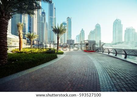 Dubai Marina at sunrise, United Arab Emirates