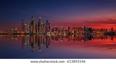 Dubai Marina at sunset #613892546