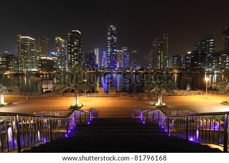 Dubai Marina illuminated at night, United Arab Emirates - stock photo