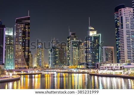 Dubai marina in a summer night, Dubai, UAE. #385231999