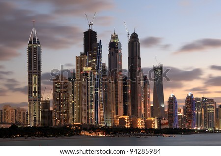 Dubai Marina skyline at dusk, Dubai, United Arab Emirates