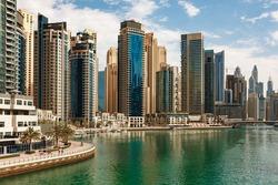 Dubai Marina skyscrapers and port in Dubai, United Arab Emirates