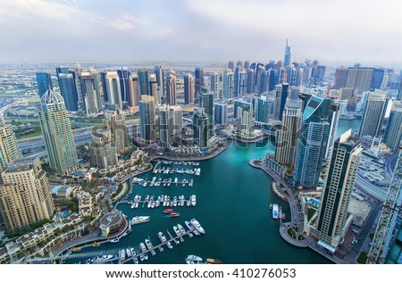 Dubai Marina skyscrapers, port with luxury yachts and marina promenade,Dubai,United Arab Emirates