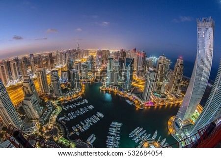 DUBAI MARINA, UAE - 7th DECEMBER 2016 : Top view of Dubai Marina through fish eye lens.. #532684054