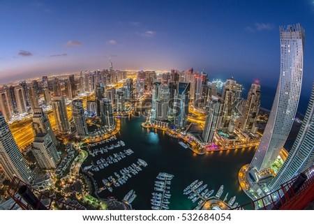 DUBAI MARINA, UAE - 7th DECEMBER 2016 : Top view of Dubai Marina through fish eye lens.. #532684054
