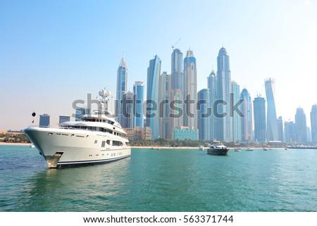Dubai Marine skyscrapers, dubai sea, yacht, ship, vessel, boat