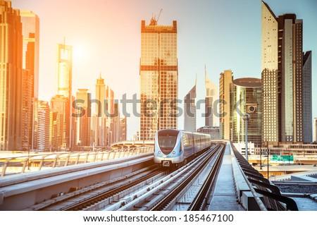Dubai Metro. Evening view of the city. UAE