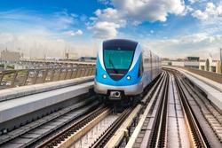Dubai metro railway in a summer day in Dubai, United Arab Emirates