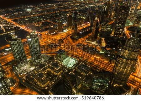 Dubai Night View. Panoramic view from Burj Khalifa tower. #519640786