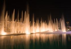 Dubai night .Water show