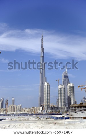 DUBAI - OCTOBER 29: View over Dubai with Burj Khalifa the tallest building in the world reaching over 800 meters under construction, October 29, 2008 in Dubai, UAE.