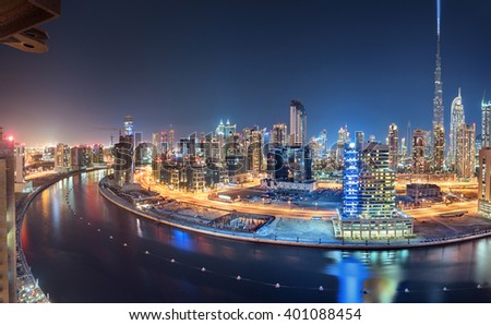 Shutterstock Dubai Panoramic View From Top at night