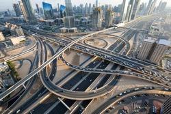 Dubai roads, junction, intersection. Dubai car traffic, busy roads, Interchange 1. Sheikh Zayed road. Dubai Downtown. United Arab Emirates. Dubai highways.