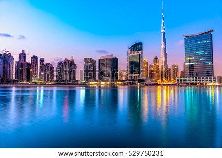 Dubai skyline at dusk, UAE. #529750231