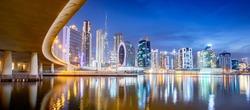 Dubai skyline at night, Business Bay district in central dubai, United Arab Emirates