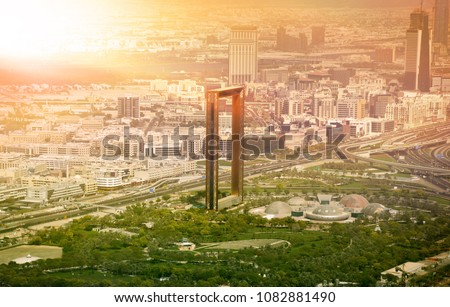 Dubai skyline at sunset - Shutterstock ID 1082881490