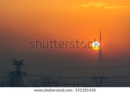Sunset Building Dubai Dubai Skyline at Sunset Seen