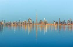 Dubai skyline at the sunrise,Dubai United Arab Emirates