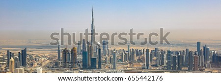 Dubai skyline Burj Khalifa skyscraper panorama panoramic aerial view photography UAE