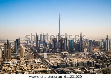 Dubai skyline. Burj Khalifa the tallest building in the world. Dubai Downtown.