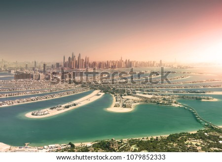 Dubai skyline from Palm Island at sunset - Shutterstock ID 1079852333