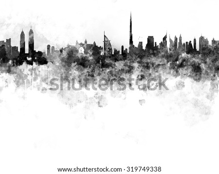 Dubai skyline in black watercolor on white background
