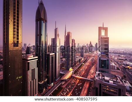Dubai skyline in sunset time, United Arab Emirates #408507595