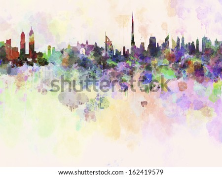 Dubai skyline in watercolor background with clipping path