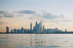 Dubai skyline panoramic sunset view
