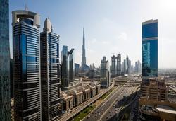 Dubai skyline. Skyscrapers, Downtown views. Burj Khalifa tallest building in the world. Futuristic city. Iconic Dubai views. Sheikh zayed road. Skyscraper construction.
