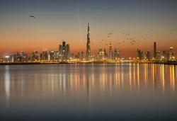 Dubai skyline view during sunset