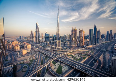 Dubai skyline with beautiful city close to it's busiest highway on traffic #429620146