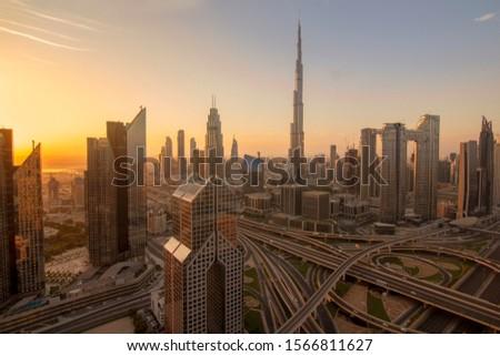 Dubai skyline with beautiful city with modern skyscrapers.Sheikh Zayed Road  Downtown of Dubai
