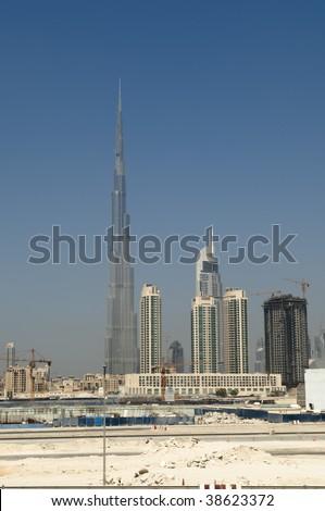 Dubai Skyline with Burj Dubai worlds tallest building - stock photo