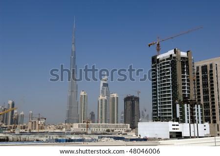 Dubai Skyline with Burj Khalifa, world?s highest building