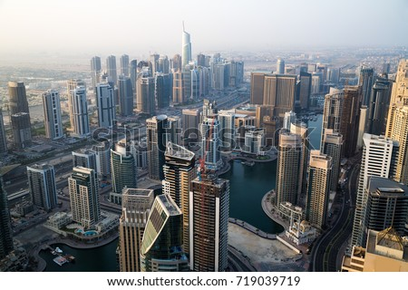 Dubai skyscrapers. Dubai Marina from above. Futuristic city. Sheikh Zayed road. Residential buildings. Dubai hotels.