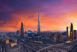 Dubai skyscrapers during sunset