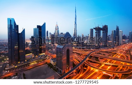 Dubai sunset panoramic view of downtown. Dubai is super modern city of UAE, cosmopolitan megalopolis. #1277729545