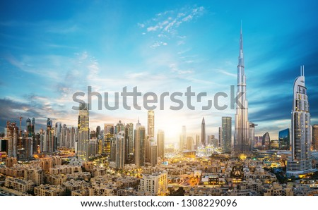 Dubai sunset panoramic view of downtown. Dubai is super modern city of UAE, cosmopolitan megalopolis. #1308229096