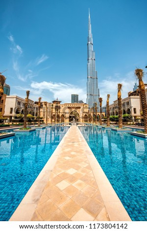 Dubai tallest tower Burj Khalifa on a beautiful morning! Luxury travel concept.