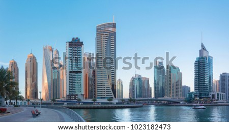 Dubai - The skyscrapers and hotels of Marina and the promenade.