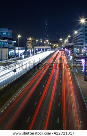 Dubai traffic light trails, night, Dubai, UAE #422921317